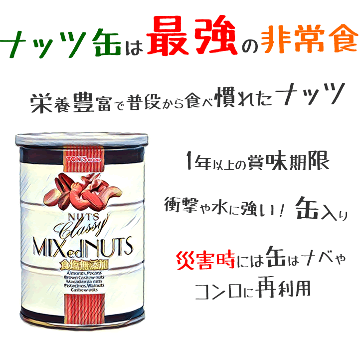 ナッツ缶 缶詰 保存食 防災 TON'S 東洋ナッツ よいナッツ屋さん